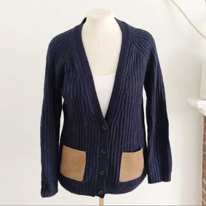 Olive & Oak Navy Leather Patch Pocket Cardigan S